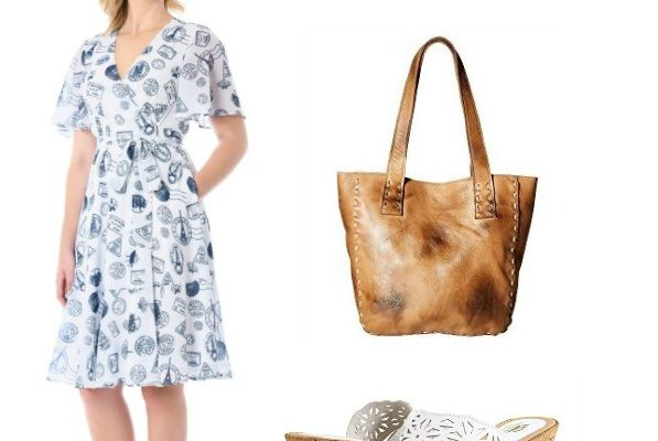 travel stamps dress